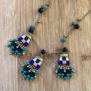 Beaded Tribal/Abstract Ann Taylor Long Necklace
